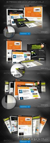 Фотошаблон 3D Premium Web Mock-Up Display Vol_3 – GraphicRiver