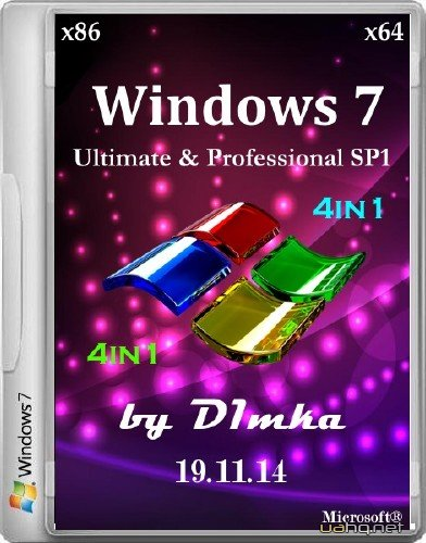 Windows 7 Ultimate & Pro SP1 4&1 by D1mka 19.11.14 (x86/x64/2014/RUS)